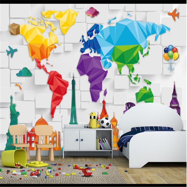 Customize map of the world wallpaper building 3d stereoscopic customize map of the world wallpaper building 3d stereoscopic wallpaper environmental protection study living room kids gumiabroncs Images