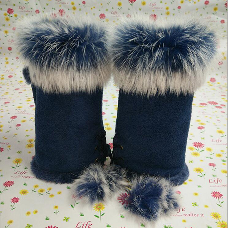 Female Rabbit Hair Wrist Gloves Fingerless Computer Typing Mittens Winter Women Suede Leather Warm Thick Cashmere Gloves G58