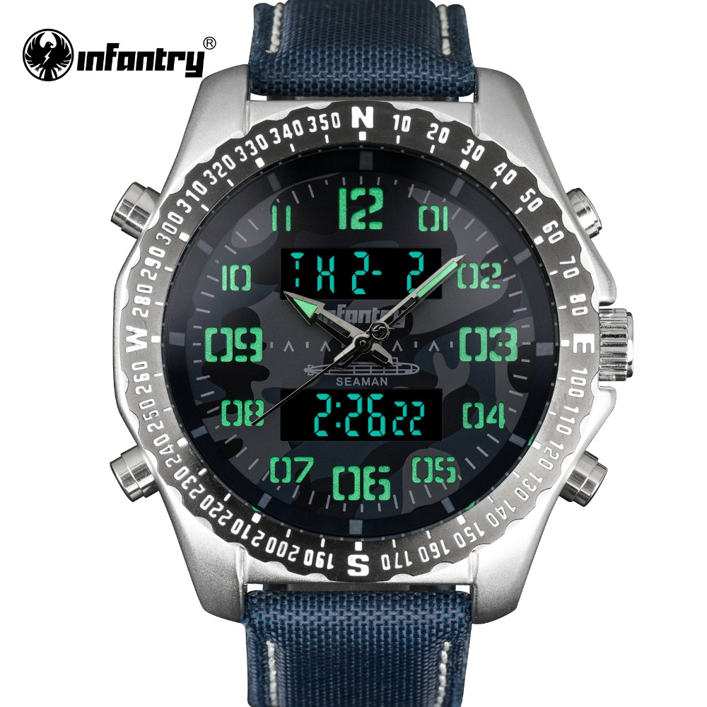 INFANTRY Military Watch Men LED Digital Quartz Mens Watches Top Brand Luxury Aviator Army Pilot Sport Blue Relogio Masculino ot03 hot sale fashion military pilot aviator army style canvas band quartz analog outdoor sport men watch