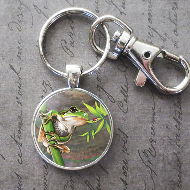 Art Painting Cute Tree Frog Key Ring Key Chain Buckle Pendant Birthday Festival Anniversary Gift Jewelry Accessories