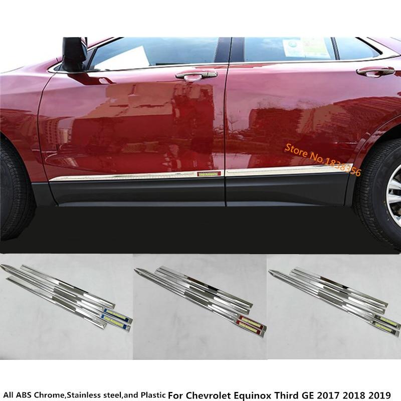 Auto Edelstahl Seite Tür Trim Streifen Form Stream Lampe Panel Stoßstange Für Chevrolet Equinox Dritte GE 2017 2018 2019 2020