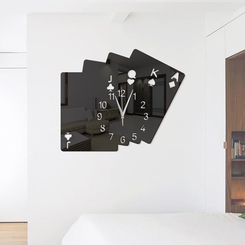 Acrylic Living Room Decoration Creative Home Poker Diy Stereo Wall Sticker Mirror Wall Clock Modern Design