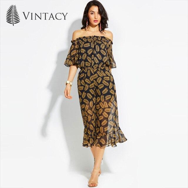 cb79ed9ce0 Vintacy Off Shoulder Women Jumpsuit Plant Printed Yellow Ruffles Short  Sleeve Summer Rompers Elegant Loose Wide