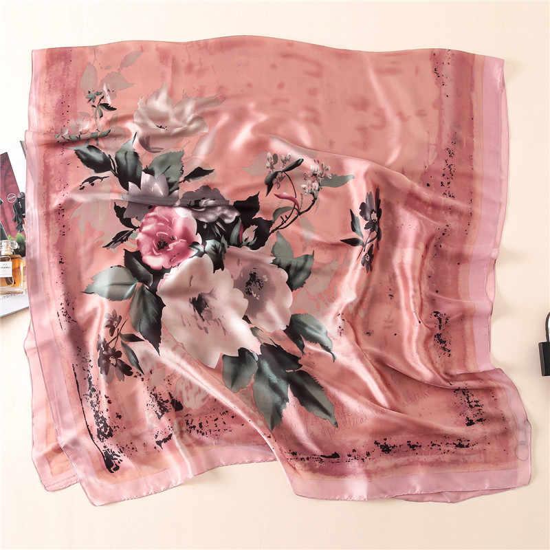 天然シルクスカーフの女性の高級ブランド 2018 ファッション女性デザイナービッグ花柄デジタルプリントシルクスカーフ女性のシルクショール