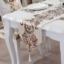 Camino de mesa bordado de estilo europeo, camino de mesa de lujo, decoración moderna para fiesta de boda, hogar, mantel de encaje para comedor