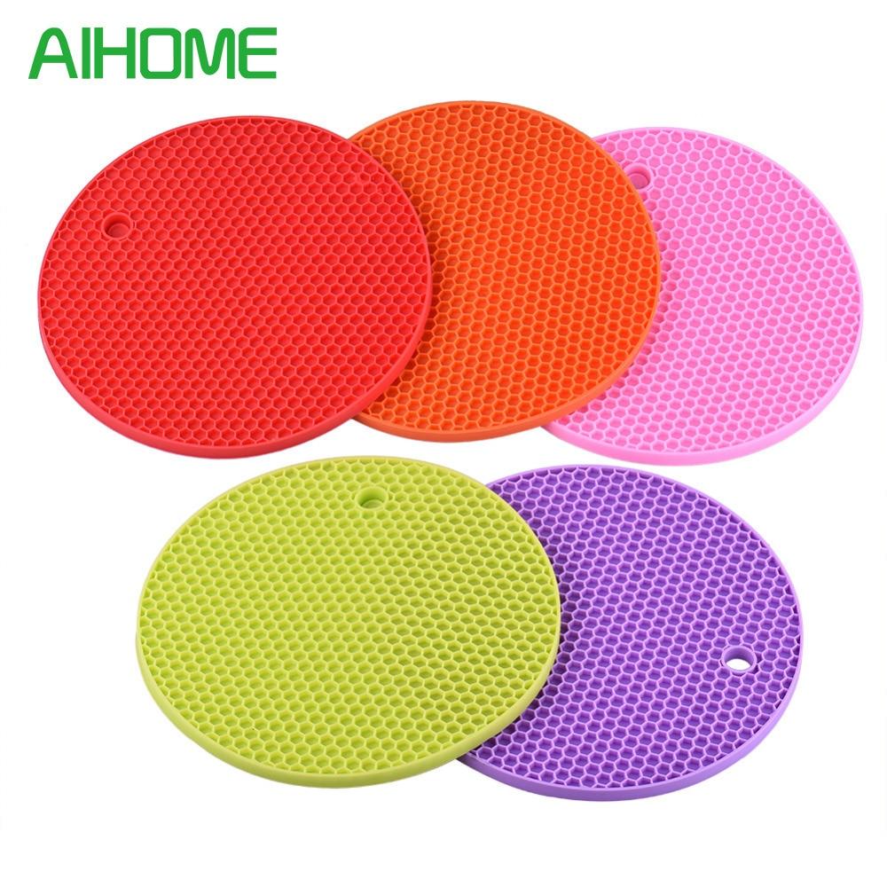 ᑐnon Slip Heat Resistant Mat Colorful Round Coaster Cushion