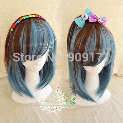 Hanime Short Straight Hair Inclined Bang Girl Lolita Cosplay Party Tow Colors Wig B0324 Wig Wig Orangewig Japan Aliexpress