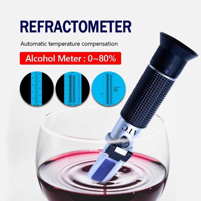 Alcohol refractómetro 0 ~ 80% alcoholímetro V/V ATC herramienta de mano hidrómetro RZ122 refraktometer alcohol