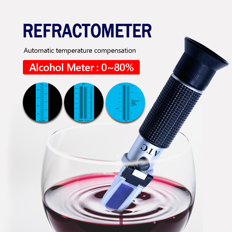 Alcohol refractometer sugar 0~80% Alcoholometer V/V ATC Handheld Tool Hydrometer RZ122 refraktometer alcohol alcohol refractometer for spirit alcohol volume percent measurement with automatic temperature compensation atc range 0 80%