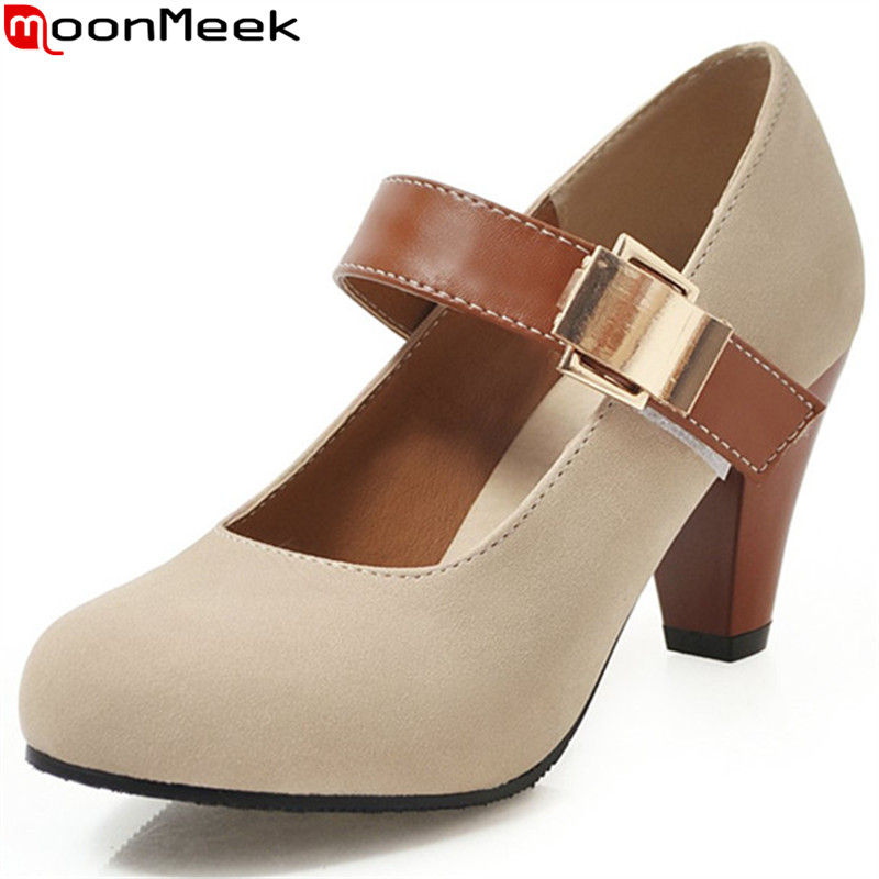 Moonmeek Shoes Woman High-Heels Thick Plus-Size Fashion New Round Buckle Pu 34-48
