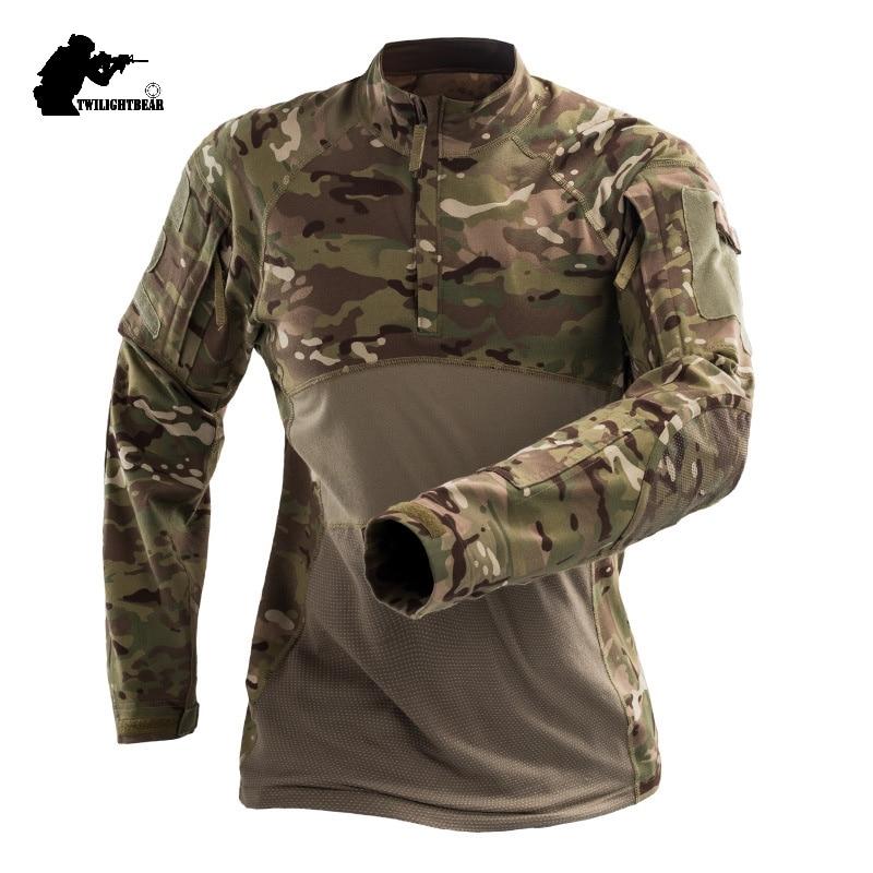 צבאי Mens הסוואה טקטי T חולצה ארוך שרוול מותג כותנה לנשימה Combat צפרדע Tshirt גברים אימון חולצות S-3XL AF112