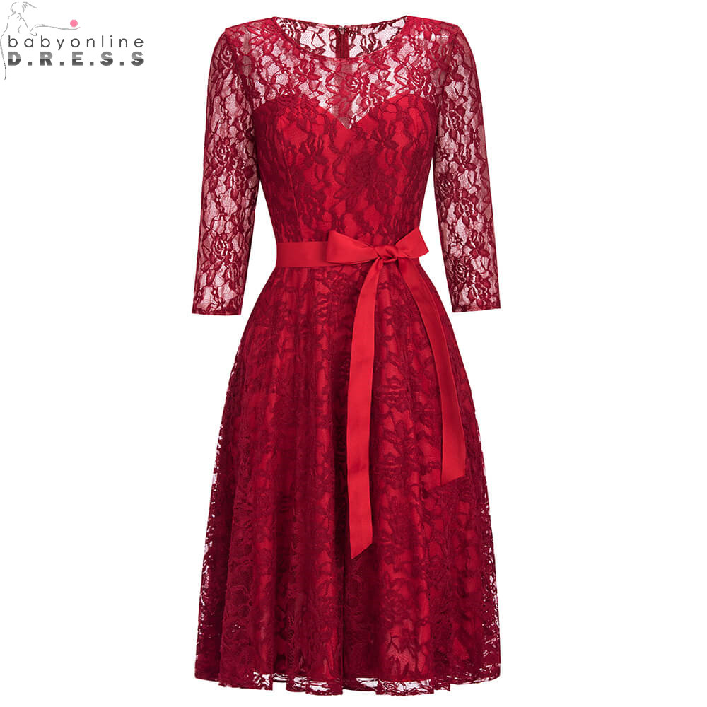 New Arrival Plus Size Red Lace Short Evening Dress Sexy Hollow Out Three Quarter Sleeve Evening Gowns Robe De Soiree Courte