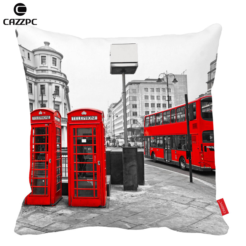 <font><b>Black</b></font> and white <font><b>London</b></font> City Retro Red bus and Telephone Boxes Car Decorative Throw Pillowcase Pillow cases Cushion Covers Sofa