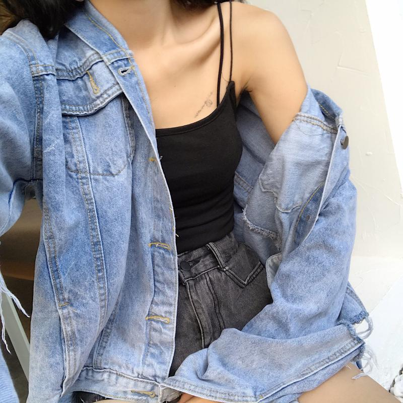 Retro Hong Kong Flavor Hole Loose Spring Autumn Women Jacket 2018 Personality Wild Hair Fringed Tassels Long-sleeved Denim X41 1