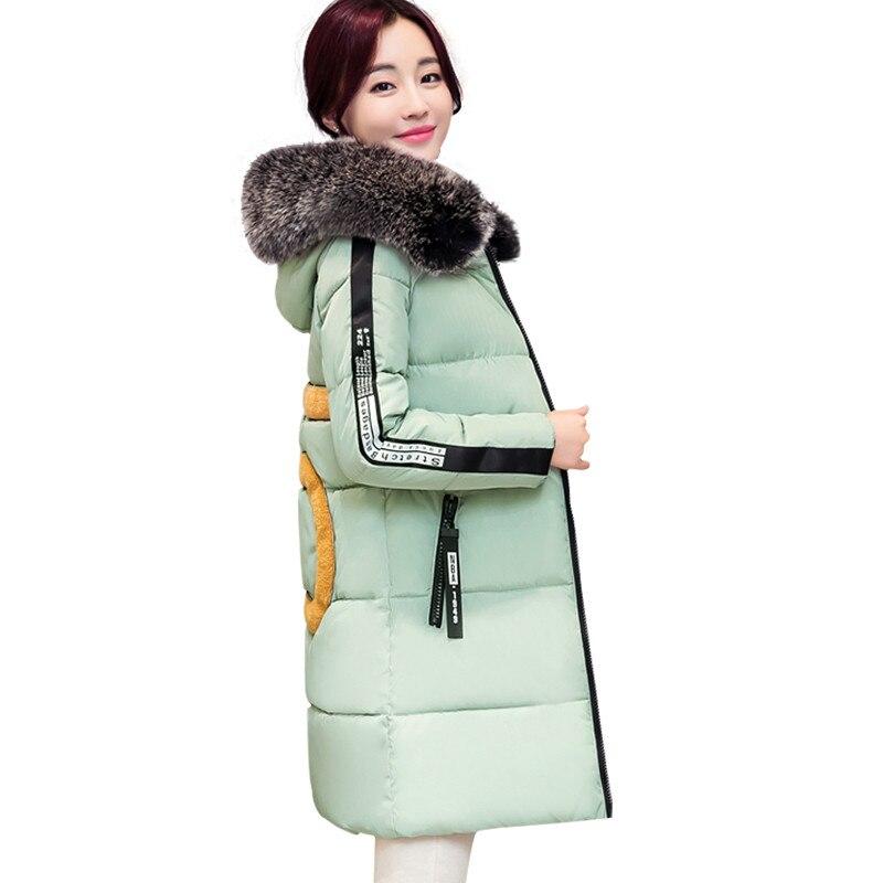 2016 Büyük Kürk Yaka Kış Kadın Aşağı Ceket Uzun Kadın Sıcak Kalınlaşma Gevşek Wadded Ceket Düz Aşağı Parka AA250