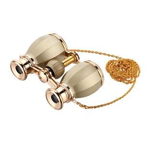 Новый стиль бинокулярный телескоп опера очки с покрытием театральное стекло ретро бинокулярный с цепью Telescopio Дамский подарок золотой цвет