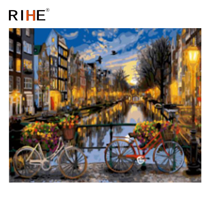 RIHE City River Diy Painting By Numbers Night Bridge Oil On Canvas Cuadros Decoracion Acrylic Wall Picture Home Decor