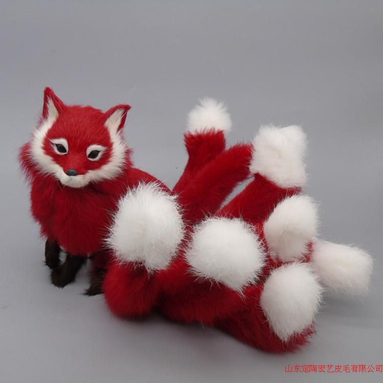 new simulation red fox toy polyethylene & furs nine-tails fox model gift about 35x18cm 193 стоимость