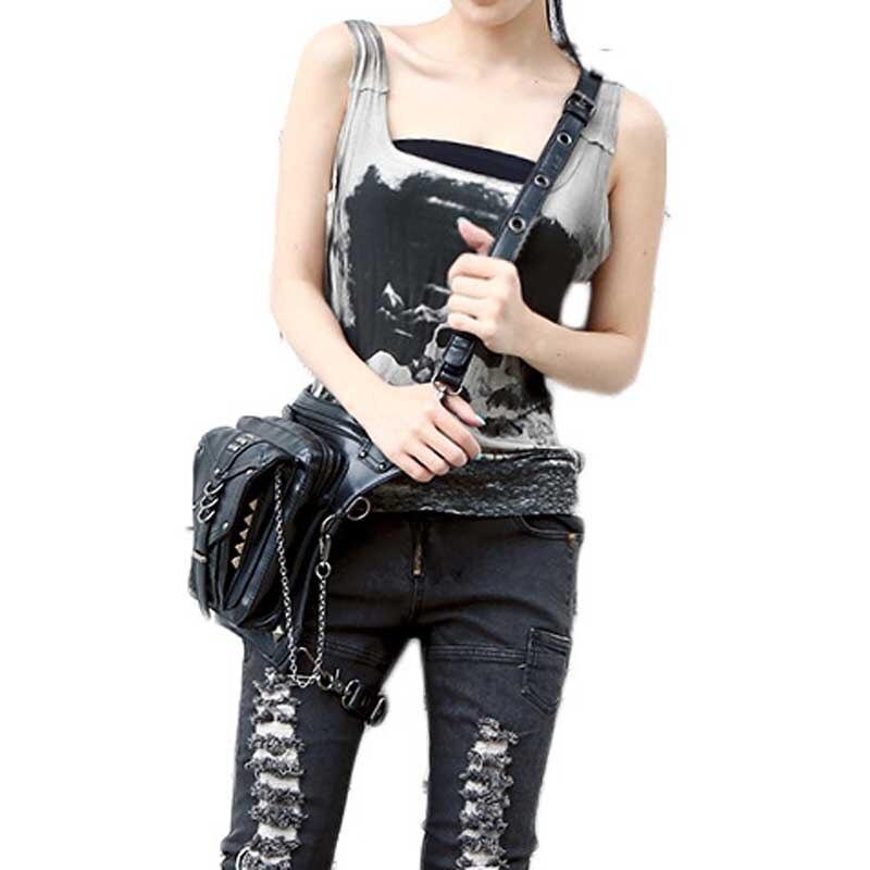 Högkvalitativa kvinnor PU läder droppe ben väska punk rock väska - Bälten väskor - Foto 5