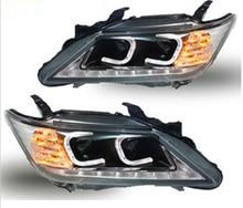 2 قطعة سيارة التصميم ل كامري العلوي 2012 2013 2014 سنة كامري الضوء الخلفي DRL ثنائية زينون عدسة عالية منخفضة شعاع وقوف السيارات الضباب