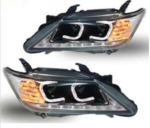Image 1 - 2 adet Araba Styling için far far 2012 2013 2014 yıl Camry arka lambası DRL Bi Xenon Mercek Yüksek Düşük Işın park Sis Lambası