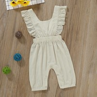 Kid Girls Summer Rompers Casual Fashion Baby Jumpsuits Girls Solid Color Sleeveless 2019