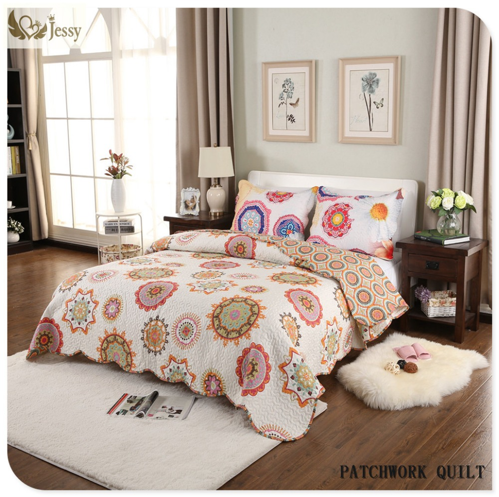 Brazilian embroidery bedspread designs - Sunflower Printed Queen King Size Patchwork Bedspread Quilted Coverlet Set Comforter Bedsheet Pillowcases Set China