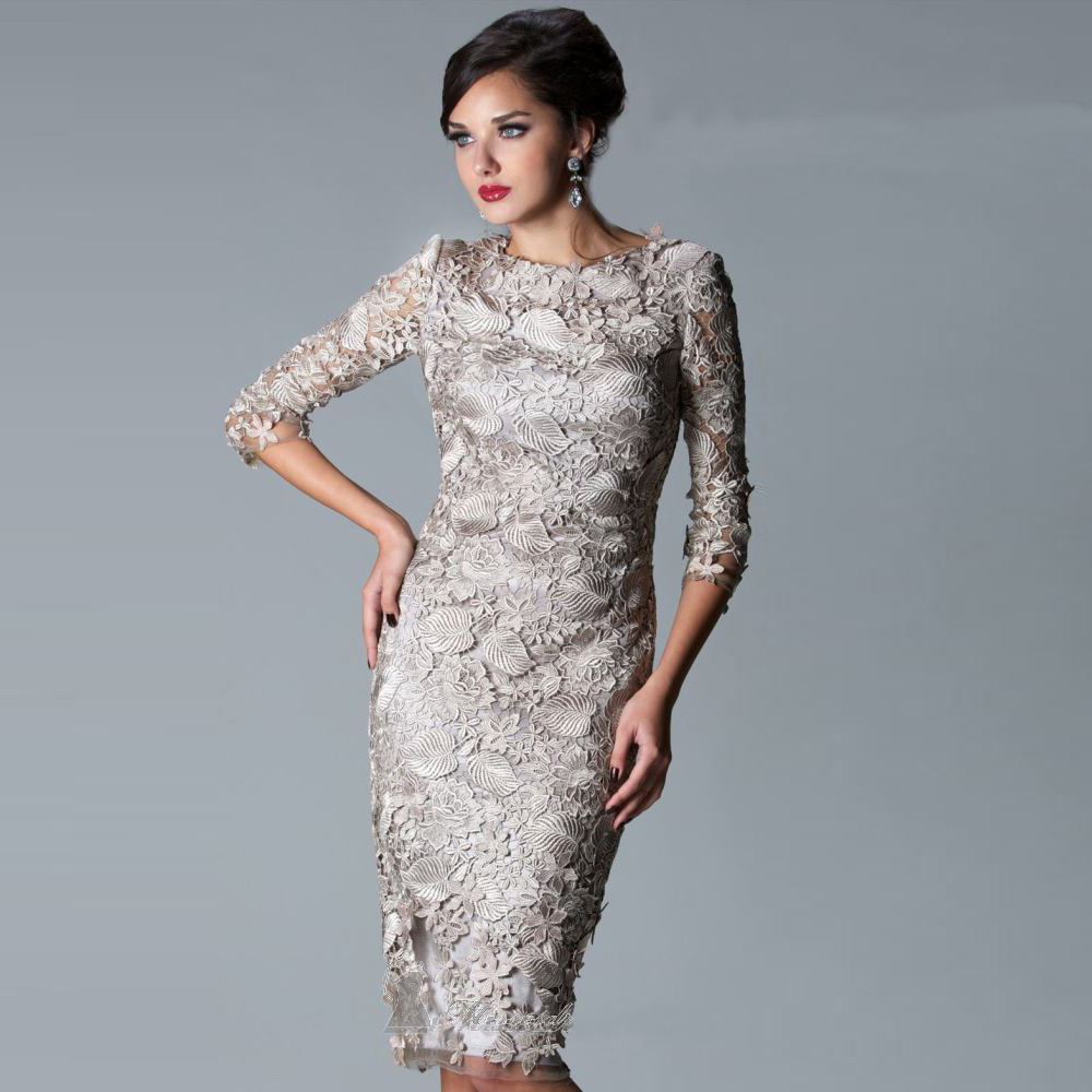 silver lace 2017 fashion scoop neck knee length mother of