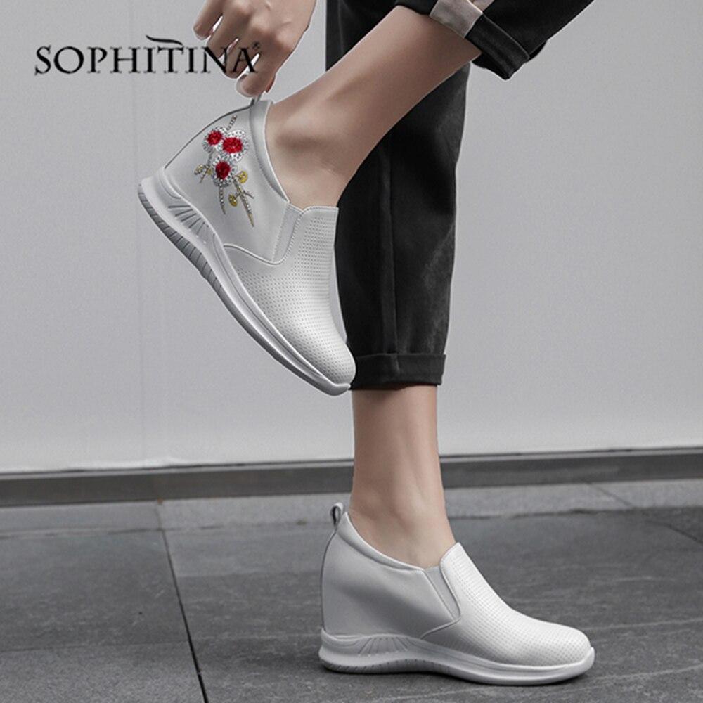 Sophitina Sporty So01 white Ricama Rotonda Modo Appartamenti Punta Style Flat Casual Nazionalità Aumentare Scarpe Entro Black Di Confortevoli 2IDeH9YWE