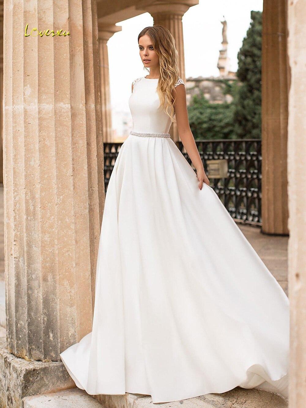 f0c97479de51d Loverxu Scoop Neck Matte Satin Vintage Wedding Dresses 2019 Elegant ...