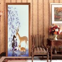 3D Wear Wall Giraffe family girl home Door Stickers Living Room Bedroom Door Renovation Wall Sticker Decoration Wallpaper Poster