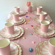 New Disposable Tableware Gold Blocking Pink Striped Paper Tray Paper Cup Party Decorations Tableware Dinner Plates Cups Napkins