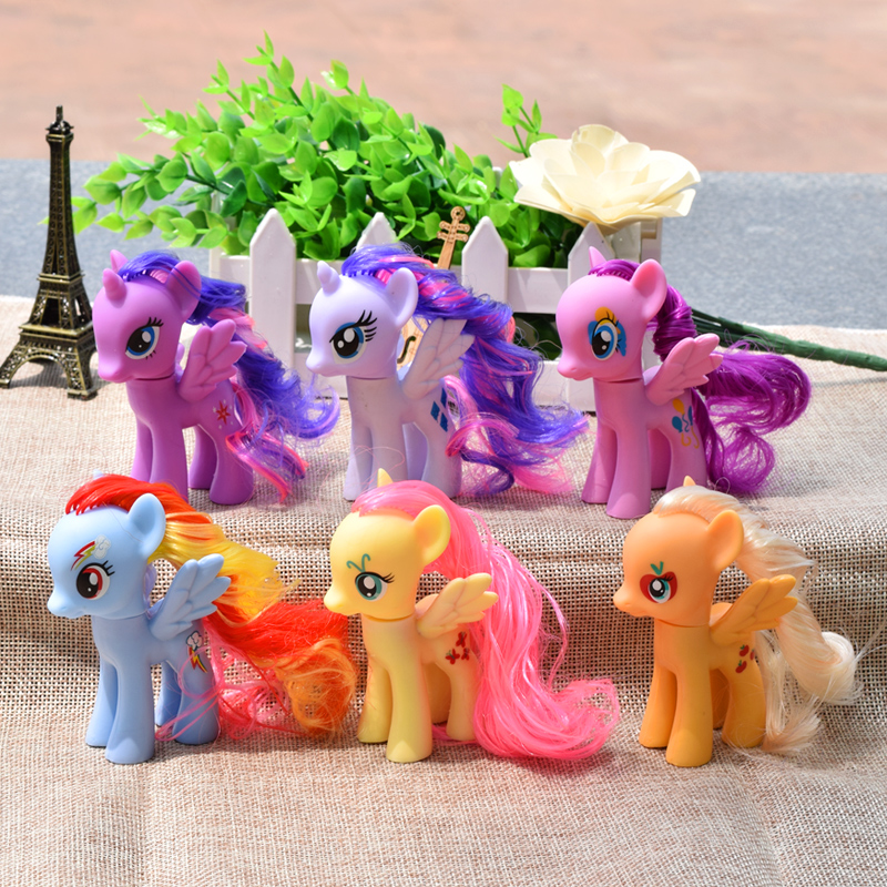6Pcs/Set Pets Horse Unicorn PVC Twilight Sparkle Rainbow Dash Apple Jack Rarity Fluttershy Pinkie PieAction Colorful Pretty cute