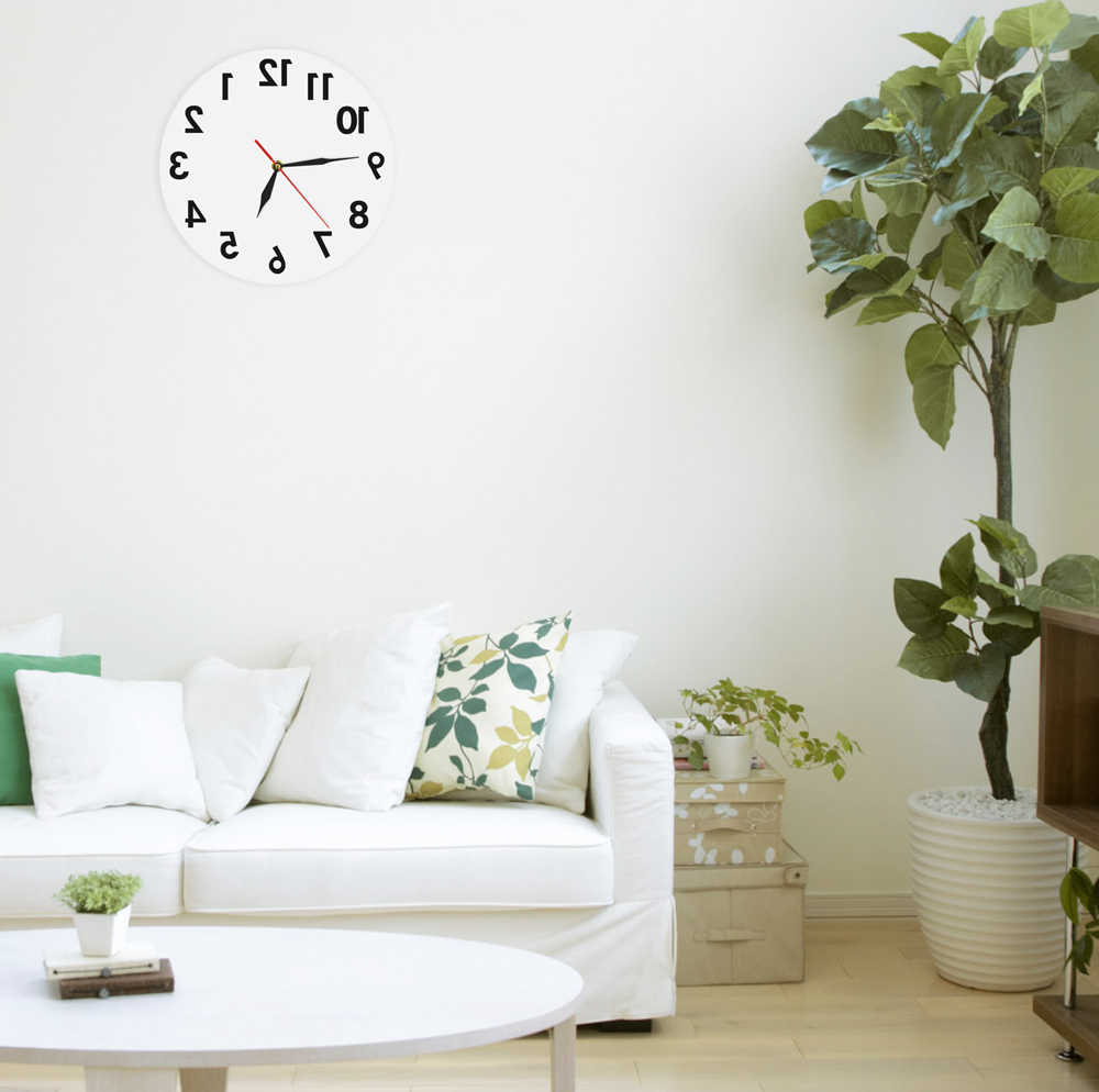 Ad 1piece backwards acrylic wall clock modern reverse round decorative wall watch wall clock