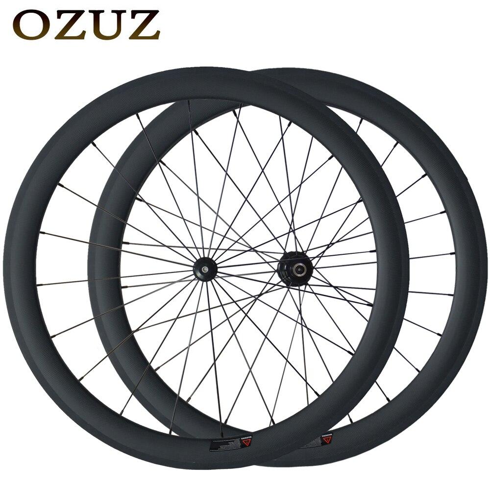 Factory Sales OZUZ Straight Pull Carbon Wheels 50mm Clincher Carbon Road Bike Wheelset 3K Matte 3K Glossy Pillar 1432 Cnspoke цена