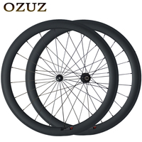 Factory sales 50mm straight pull 23mm width clincher carbon road bike wheels 3K matte or glossy 700C bicycle powerway r36 hub