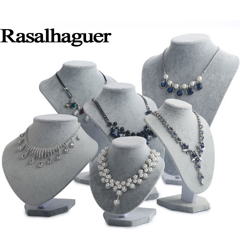 Luxury Model Bust Show Exhibitor 6 Sizes Options Gray Velvet Jewelry Display Necklace Pendants Mannequin Jewelry Stand Organizer