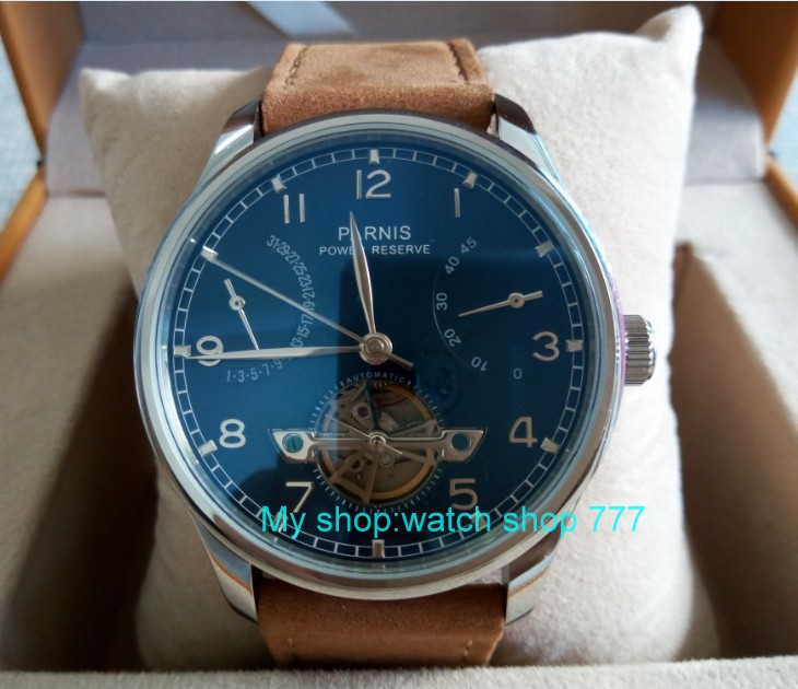 43mm PARNIS Blue dial power reserve Automatic Self-Wind Mechanical movement men's watch butterfly Leather Starps zdgd30a 43mm parnis white dial power reserve automatic self wind mechanical movement men s watch cow leather strap butterfly button 12
