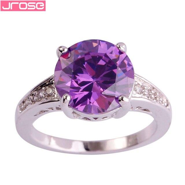 JROSE Awesome Round Cut Purple White Cubic Zirconia Fashion Women Silver Ring Size 6 7 8 9  10 11 12 13 JEWELRY Gifts Wholesale