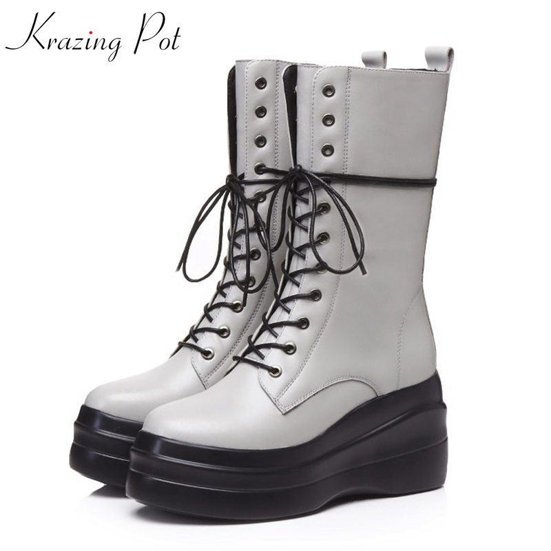 Krazing Pot 2018 full grain leather round toe cross-tied Chelsea boots wedges waterproof leisure rivets long mild-calf boots L92 xml net