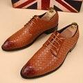 Zapatos para hombre casual 2016 nuevos Hombres de Los Oxfords, Con Cordones de los Hombres de Negocios Zapatos de Boda, Marca de Cuero de LA PU Tejida Zapatos Hombres Visten El Envío libre