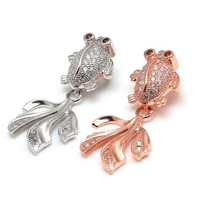 11x30mm 925 Sterling Silver Cubic Zircon Pave Goldfish Pendants Designer Fine Jewelry Accessories For Necklace