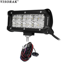 VISORAK 7D 7 Inch CREE Chips LED Light Bar 60w Combo Beam + Cross DRL LED Bar 4×4 Truck Wagon For Ford Jeep GMC Toyota SUV ATV