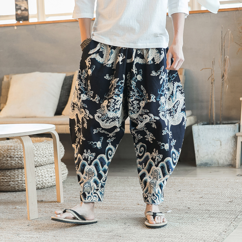 efc6a062d India Nepal Loose Linen Pants China Dragon Pattern Cotton Linen Trousers  Men Soft Natural Flax Pants Elastic Waist Comfortable-in Harem Pants from  Men s ...