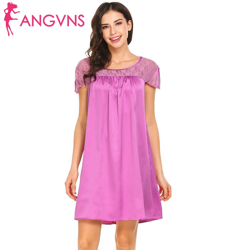 ANGVNS Split Women Patchwork Sleeve Round Short   Sleepshirt   cute Feminino fashion Neck   Nightgown   Lace Loose
