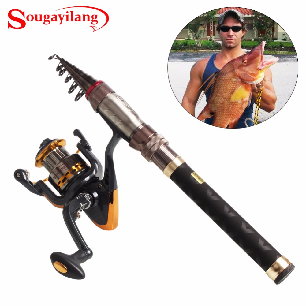 Sougayilang Telescopic Portable Carbon Rod And 13BB Spinning Reel Set For Ice Saltwater Freshwater Boat Fishing Rod Combo стоимость