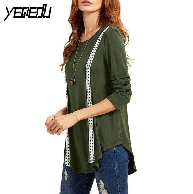 #1636 2017 T shirt women Lace up tshirts Army green long sleeve t shirt women Fashion Loose Punk Vetement femme Korean clothes