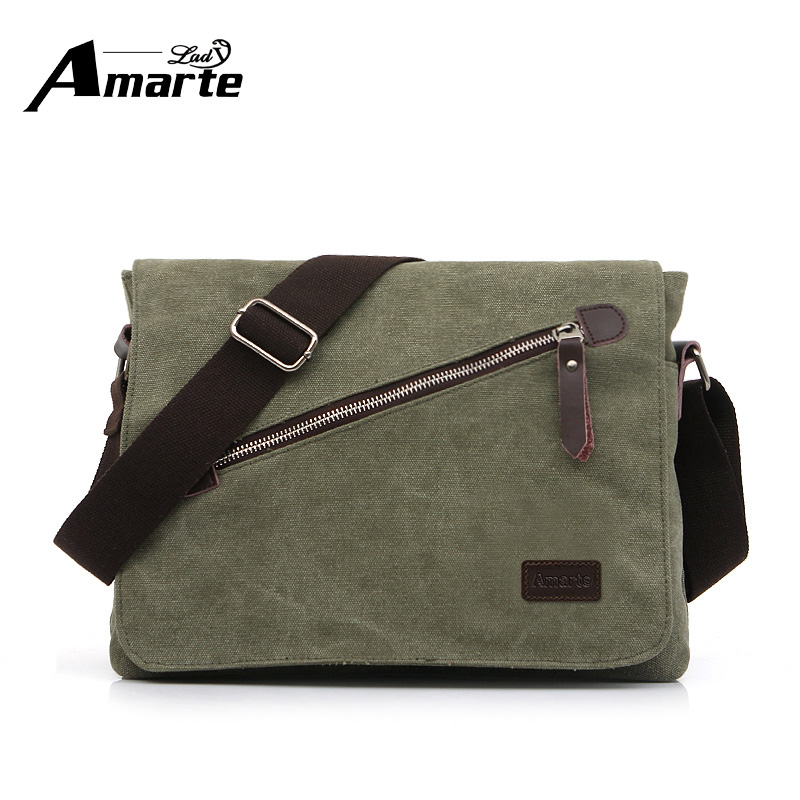 Casual  Crossbody Bags Vintage Canvas Men Messenger Bags Solid Color Business Trip Bags Travel Shoulder Bags Postman