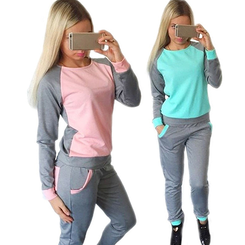 2Pcs Women's Casual Top Sweatshirt + Track Pants Sweat Suits Tracksuit
