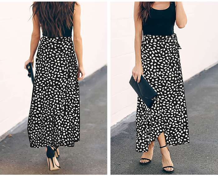 HTB14rQoRxnaK1RjSZFBq6AW7VXa3 - Surmiitro Polka Dot Print Long Maxi Summer Skirt Women Fashion Ladies White Black Split High Waist A-line Sun Skirt Female